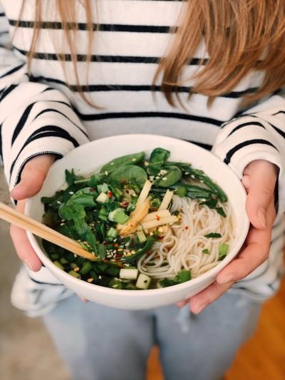 Salteado verde asiático saludable